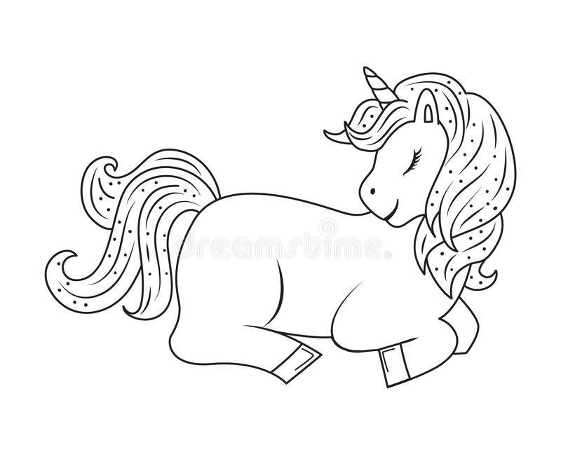 Cute outline doodle unicorn sleeps. Hand drawn elements stock illustration