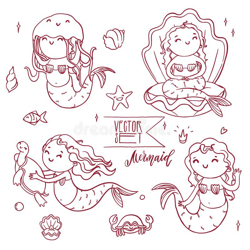 Cute outline mermaids collection with underwater animals. Vector isolated contour illustration set royalty free illustration
