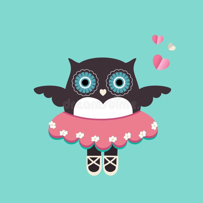 Cute owl Ballerina royalty free illustration