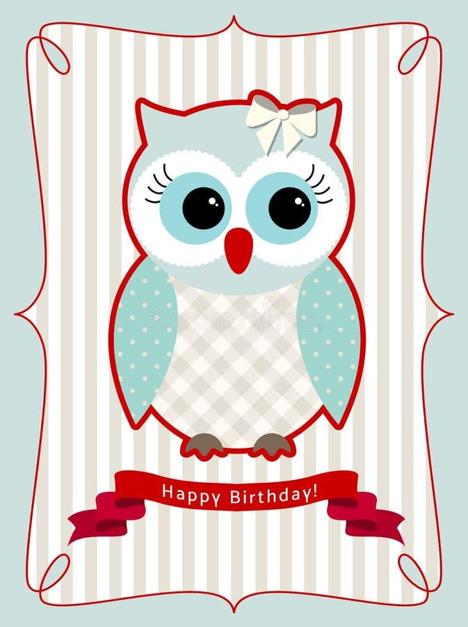 Cute Owl Birthday Card Illustration Stock Vector Illustration Of