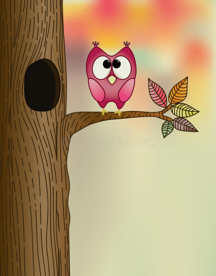 Download Cute owl on a branch stock vector. Image of pink, decoration - 15927916