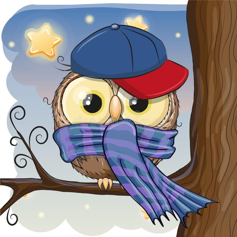 Cute Owl on a brunch vector illustration