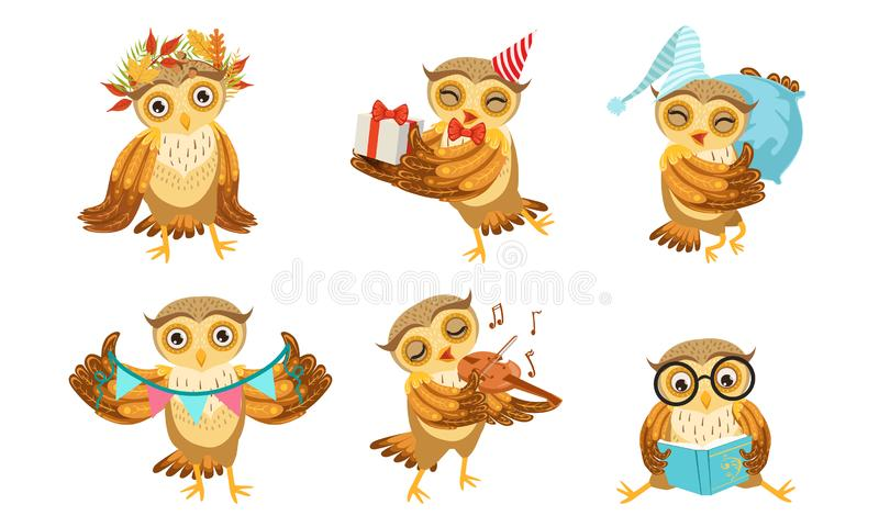 Cute Owl Cartoon Character Set, Adorable Funny Bird Different Activities Vector Illustration vector illustration