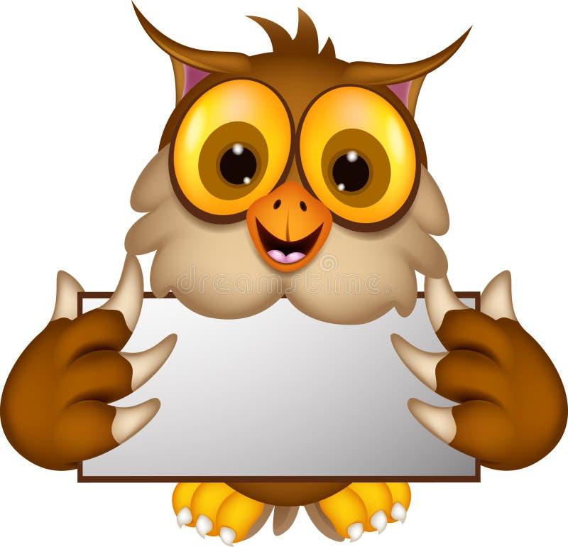 Cute Owl Cartoon Holding Blank Sign Stock Illustration ...
