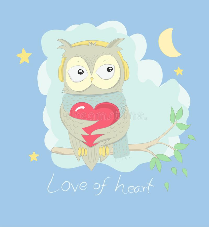 Cute owl cartoon hug red heart on the tree at night. Hand drawn. Style royalty free illustration