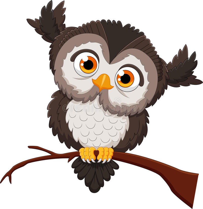 Cute owl cartoon stock illustration. Illustration of funny ...