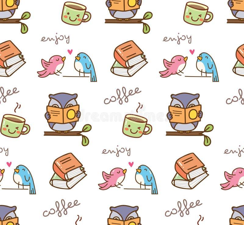 Cute owl enjoy coffee seamless pattern vector illustration