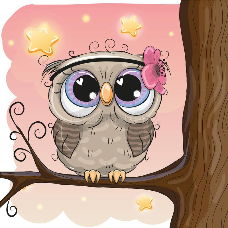 Cute Owl With Flower On A Brunch Stock Vector ...
