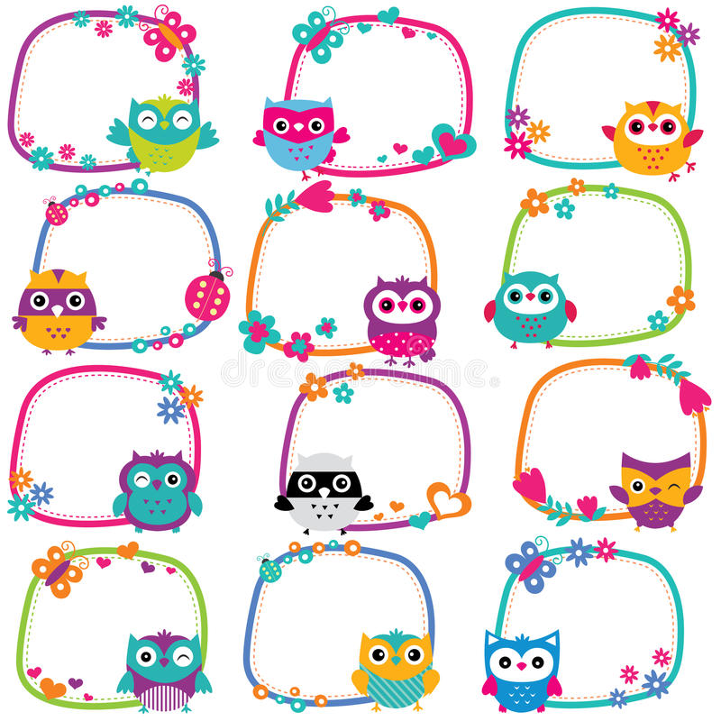 Cute owl frames clip art set royalty free illustration