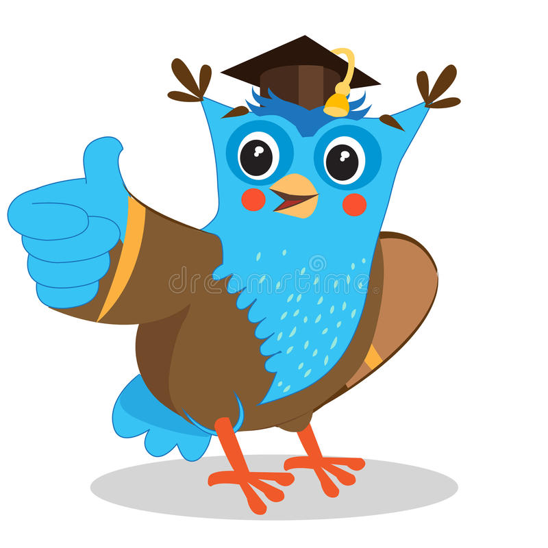 Cute Owl. Giving A Thumbs Up Sign. Cartoon Vector Illustrations. royalty free illustration