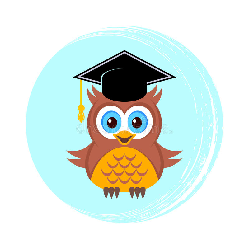 cute owl with graduation hat stock vector illustration of clipart rh dreamstime com