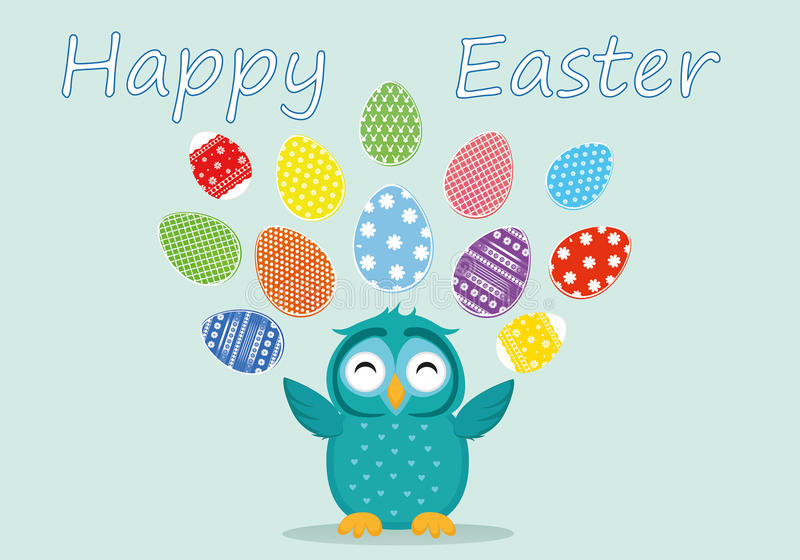 A cute owl has a happy smile and turns many colorful Easter eggs. Greeting card for the holiday. A blank space for your text or advertising. Vector royalty free illustration