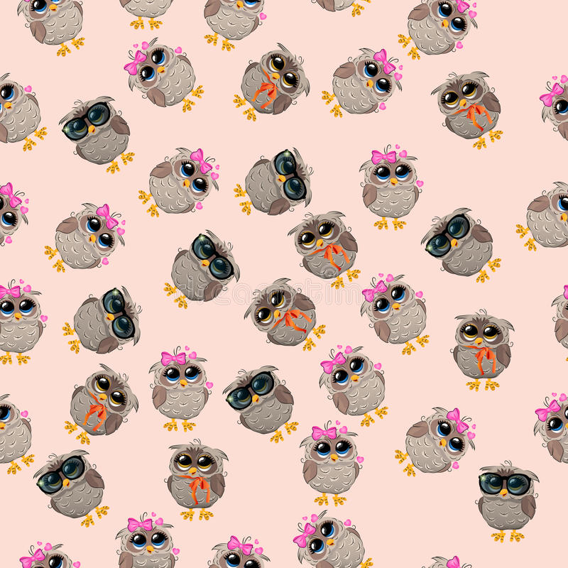 Cute owl in a hat. Very high quality original trendy vector seamless pattern with an Cute owl with glasses stock illustration