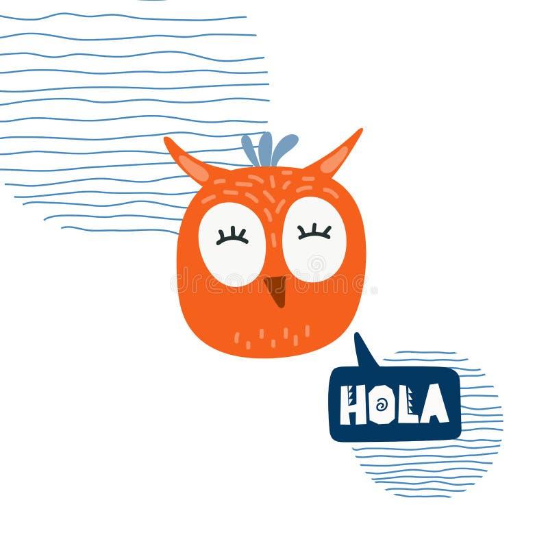 Cute owl head vector illustration. Design element, clipart royalty free illustration