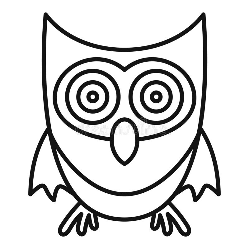 Cute Owl Icon, Outline Style Stock Vector - Illustration ...