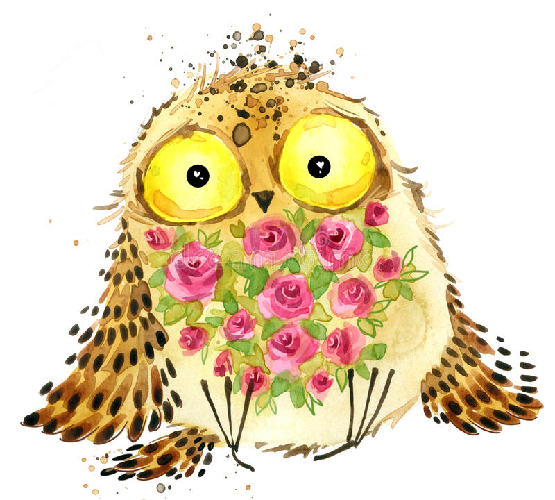 Cute owl. Owl watercolor illustration. Owl T-shirt print. Greeting Card. royalty free illustration