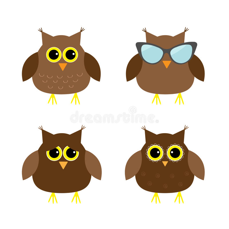 Cute owl set. Big eyes, sunglasses. Icons on white. Baby background. Isolated. Flat design. Cute owl set. Big eyes, sunglasses. Icons on white. Baby background royalty free illustration