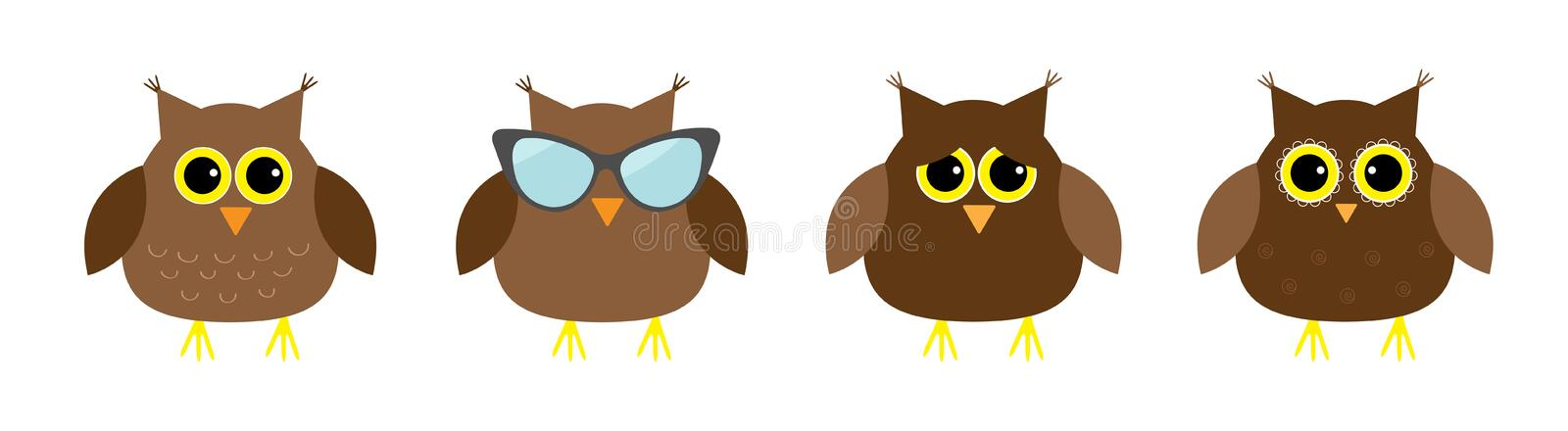 Cute owl set line. Big eyes, sunglasses. Cute cartoon kawaii funny character. Icons on white baby background. Isolated. Flat. Design. Vector illustration royalty free illustration