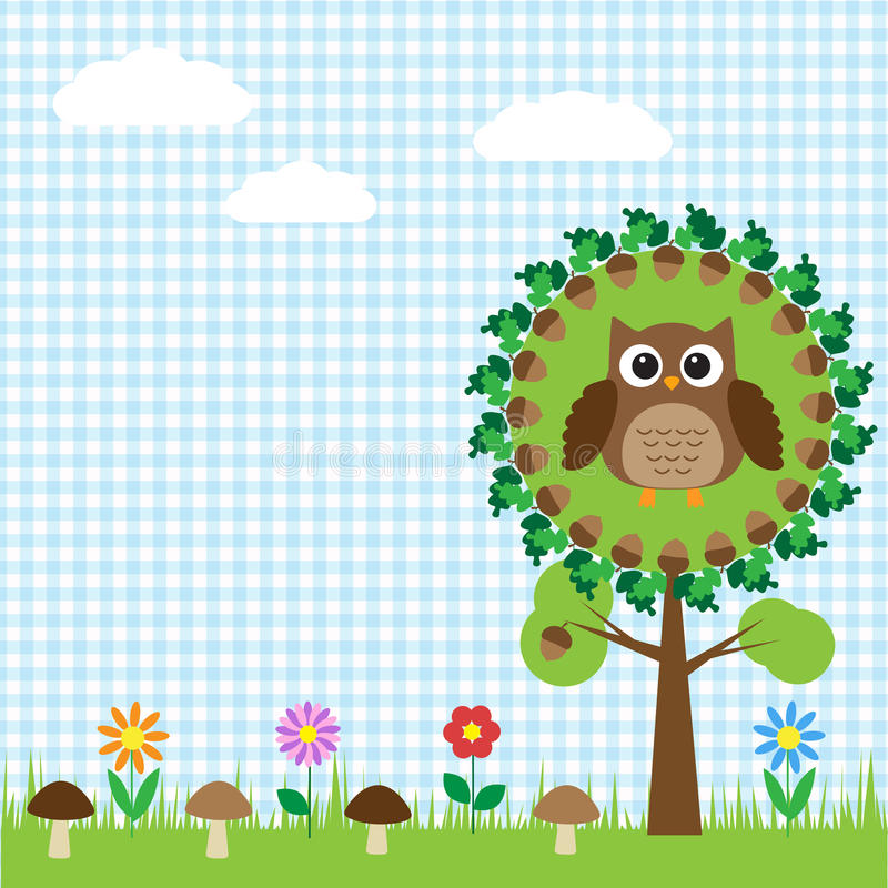 Cute Owl Sitting On Oak Royalty Free Stock Photos