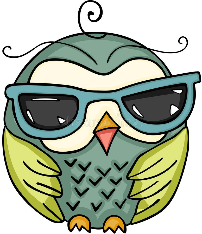 Cute owl with sunglasses. Scalable vectorial image representing a cute owl with sunglasses, isolated on white stock illustration