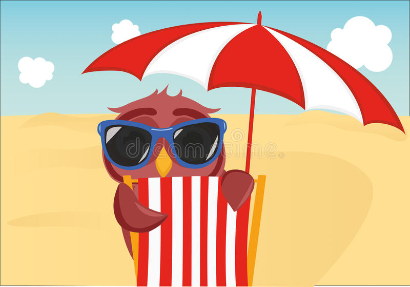 Cute owl with sunglasses on vacation lying down on the beach. By the sea and relaxing on a deck chair under an umbrella. Owlet. Postcard on holiday. Free space vector illustration