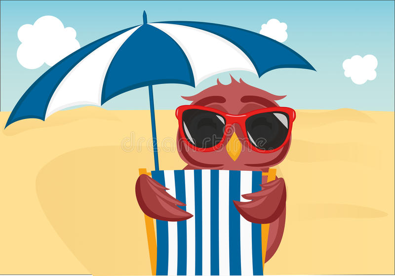 Cute owl with sunglasses on vacation lying down on the beach. By the sea and relaxing on a deck chair under an umbrella. Owlet. Postcard on holiday. Free space royalty free illustration