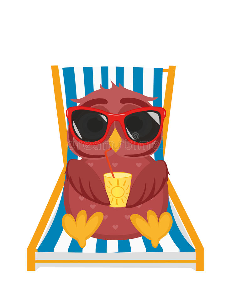 Cute owl in sunglasses on vacation lying and relaxing on a sun. Lounger. Owlet drinking cocktail. Postcard to the feast. Free space for your ad or text. Vector vector illustration