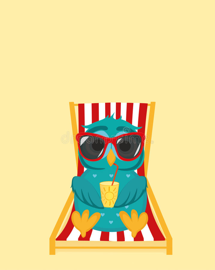 Cute owl in sunglasses on vacation lying and relaxing on a sun. Lounger. Owlet drinking cocktail. Postcard to the feast. Free space for your ad or text. Vector royalty free illustration