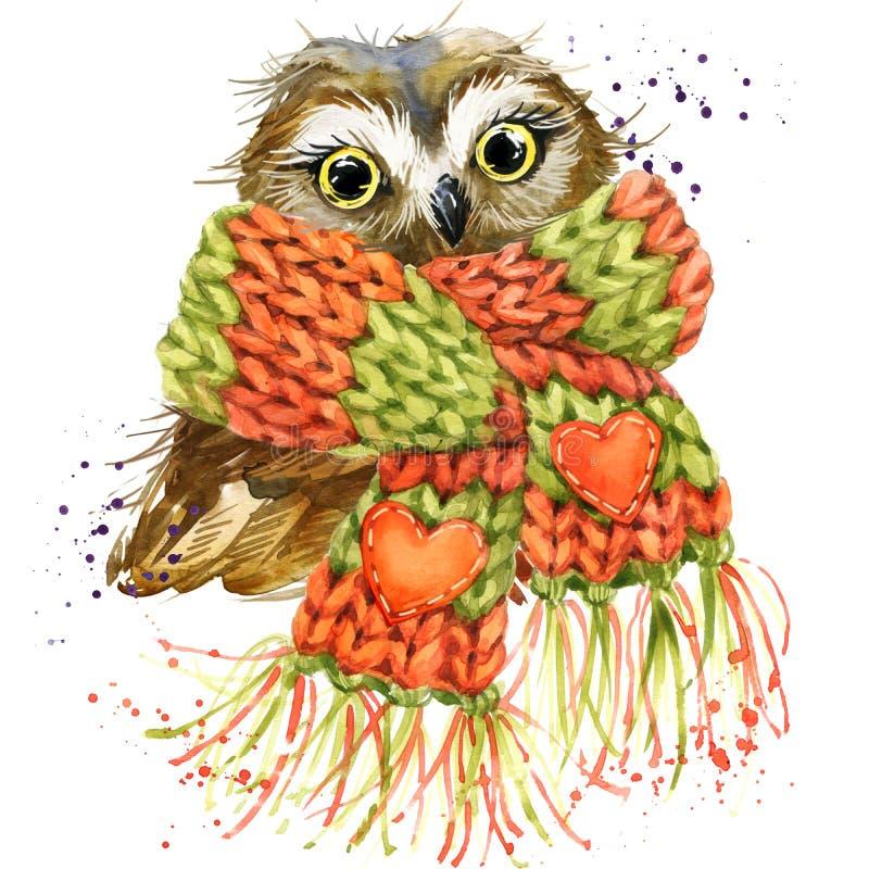 Cute owl T-shirt graphics, snowy owl illustration with splash wa vector illustration