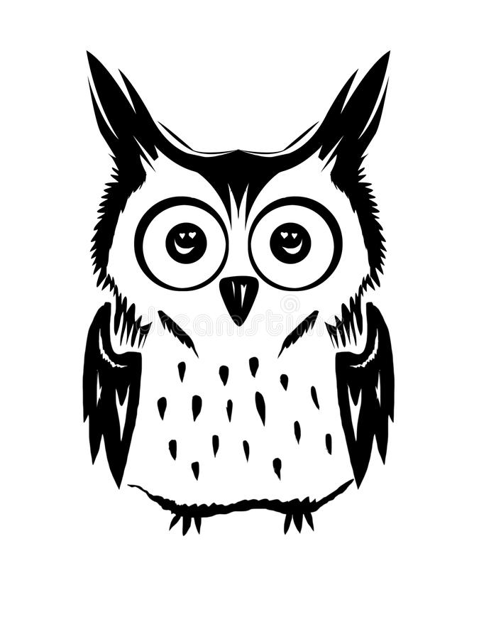 Free Cute Owl Vector Black And White Stock Images - 115463524