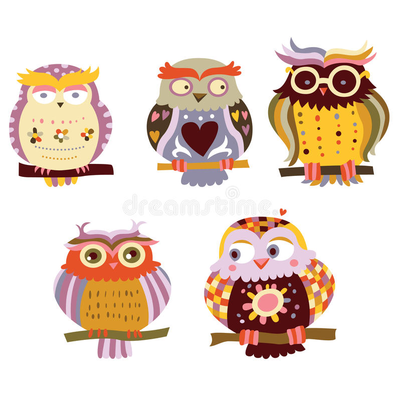 Cute Owls. Collection of cute, colorful owls with various expressions