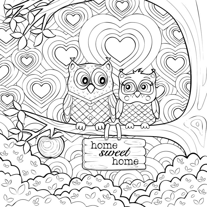 Cute Owls - Art Therapy Coloring Page vector illustration