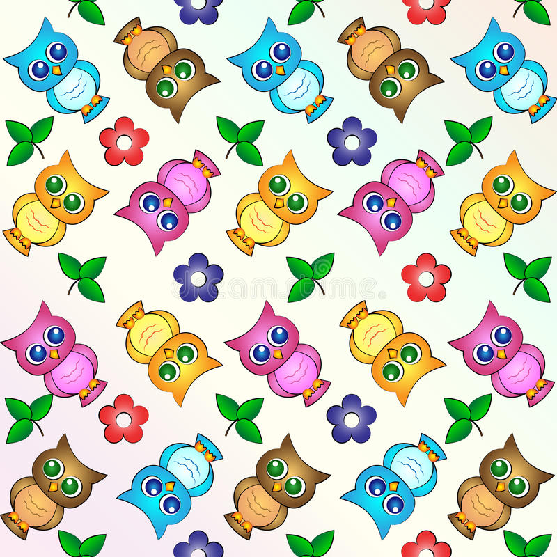 Free Owl Wallpapers: Cute Owls Background Wallpaper Pattern Stock Vector