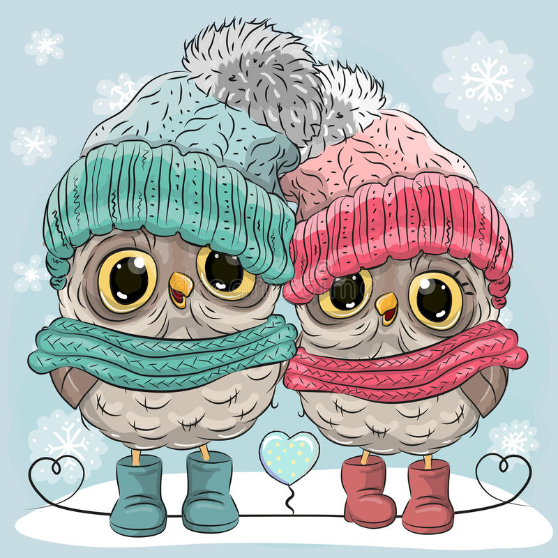 Cute Owls Boy and Girl stock vector. Illustration of image ...