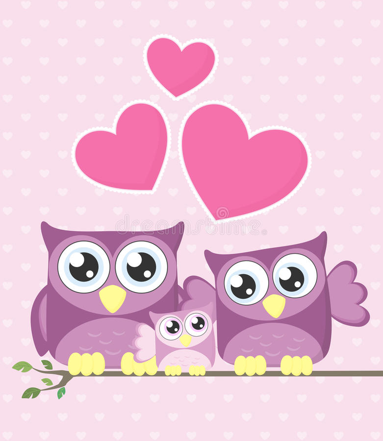 Cute owls family vector illustration
