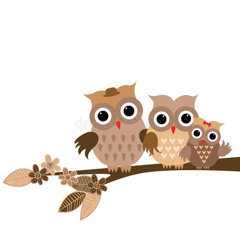 Cute owls family on white background stock illustration