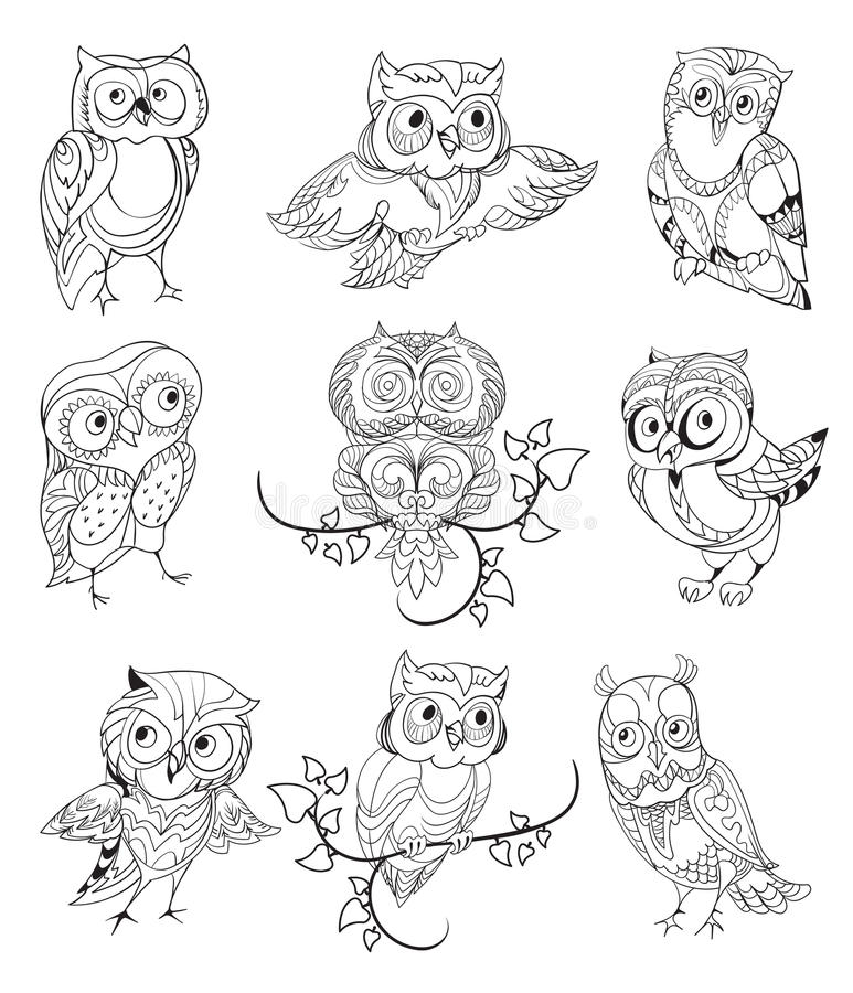 Cute Owls Outline Collection Stock Vector - Illustration ...