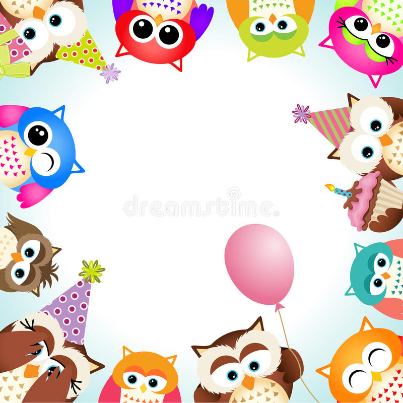 Cute Owls Party Background. Scalable vectorial image representing a cute owls party background stock illustration