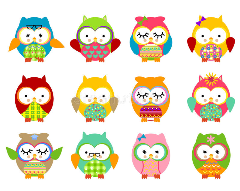 Cute owls stock images
