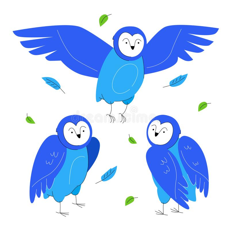 Cute owls - set of flat design style characters vector illustration