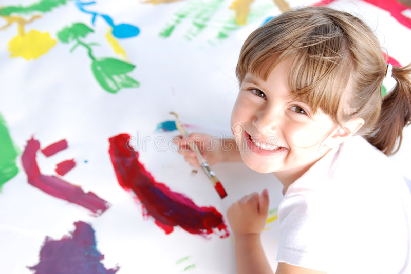 Download Cute painter stock photo. Image of female, colors, creative - 3085388