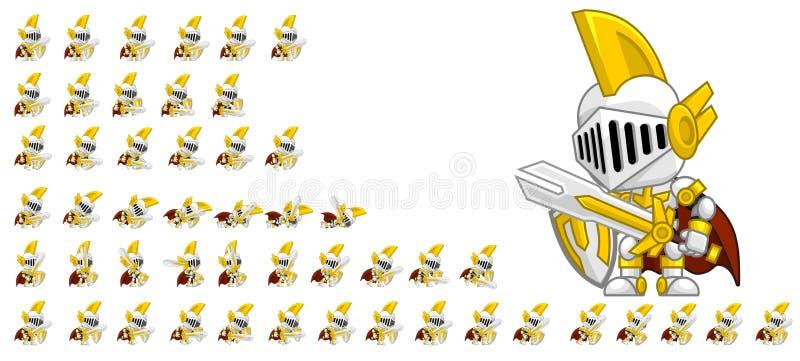 Cute Paladin Character Sprites vector illustration