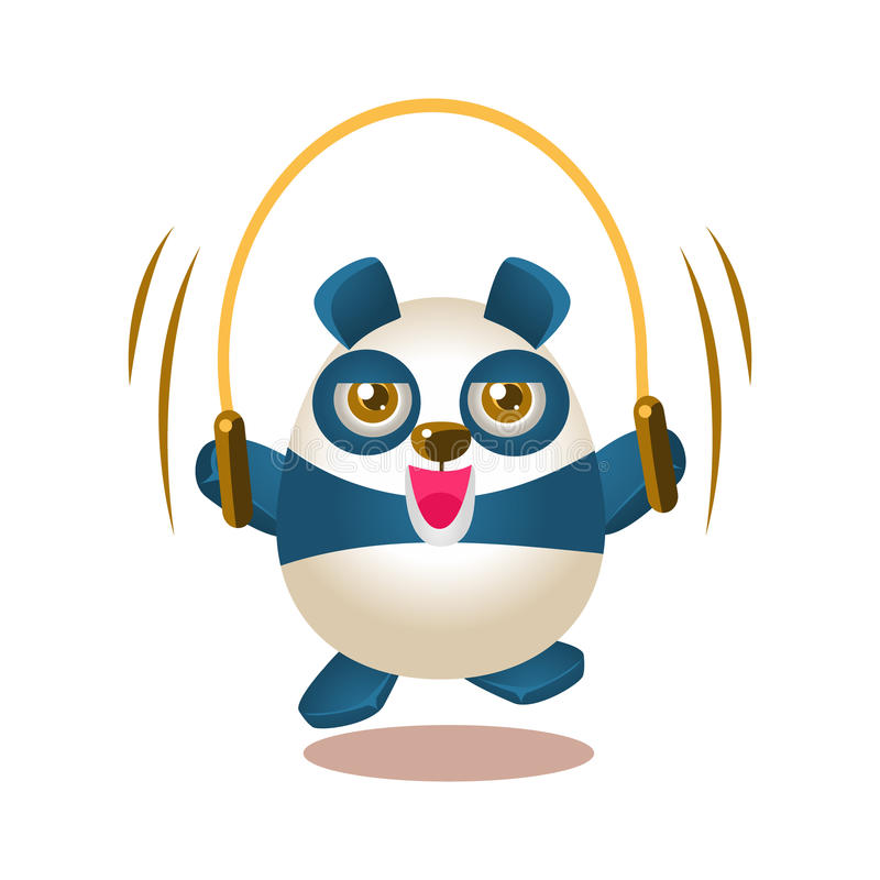Cute Panda Activity Illustration With Humanized Cartoon Bear Character Jumping On Skipping Rope. Funny Animal In Fantastic Situation Vector Emoji Drawing stock illustration