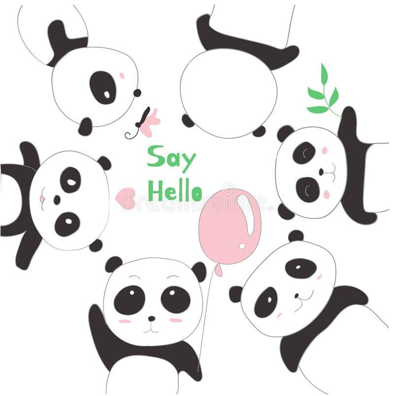 The cute panda baby. cartoon sketch animal style.  stock illustration