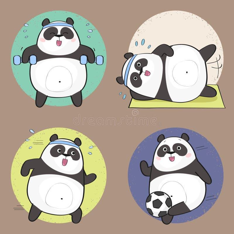 Cartoon Panda. Cute Panda Bear Character. Fitness set. Vector illustration royalty free illustration