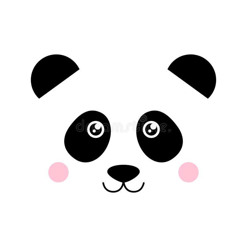 Cute panda bear face vector stock illustration