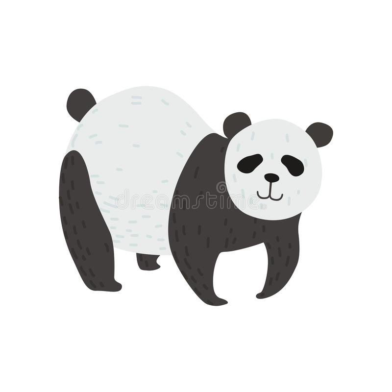 Cute Panda Bear Standing on Four Legs, Happy Lovely Animal Character Vector Illustration vector illustration