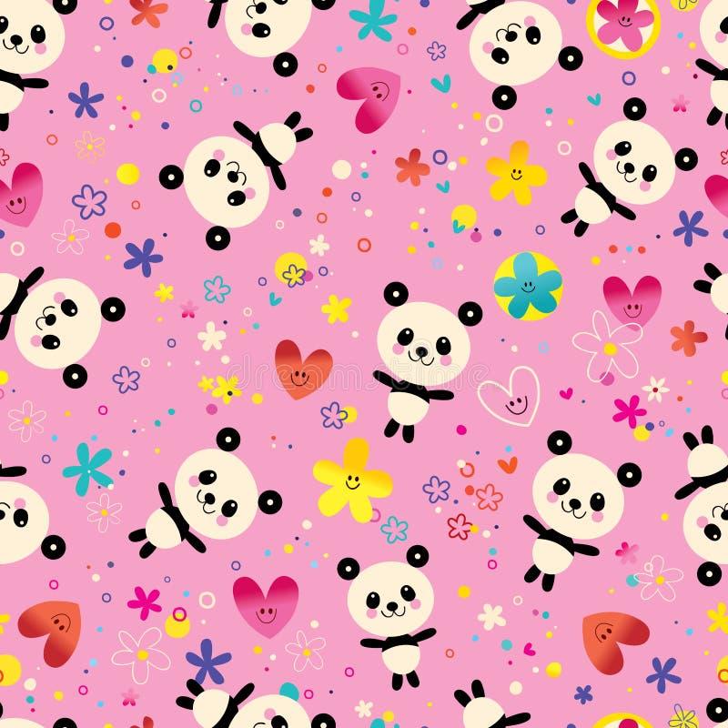 Cute panda bears seamless pattern vector illustration