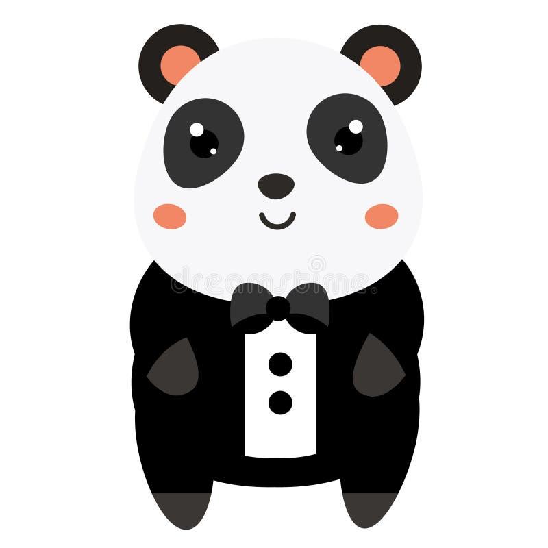 Cute panda in black tuxedo. Cartoon kawaii animal character. Vector illustration for kids and babies fashion.  royalty free illustration