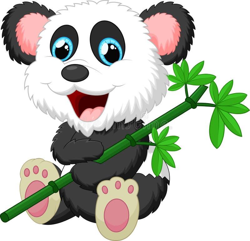 Cartoon panda bears eating bamboo